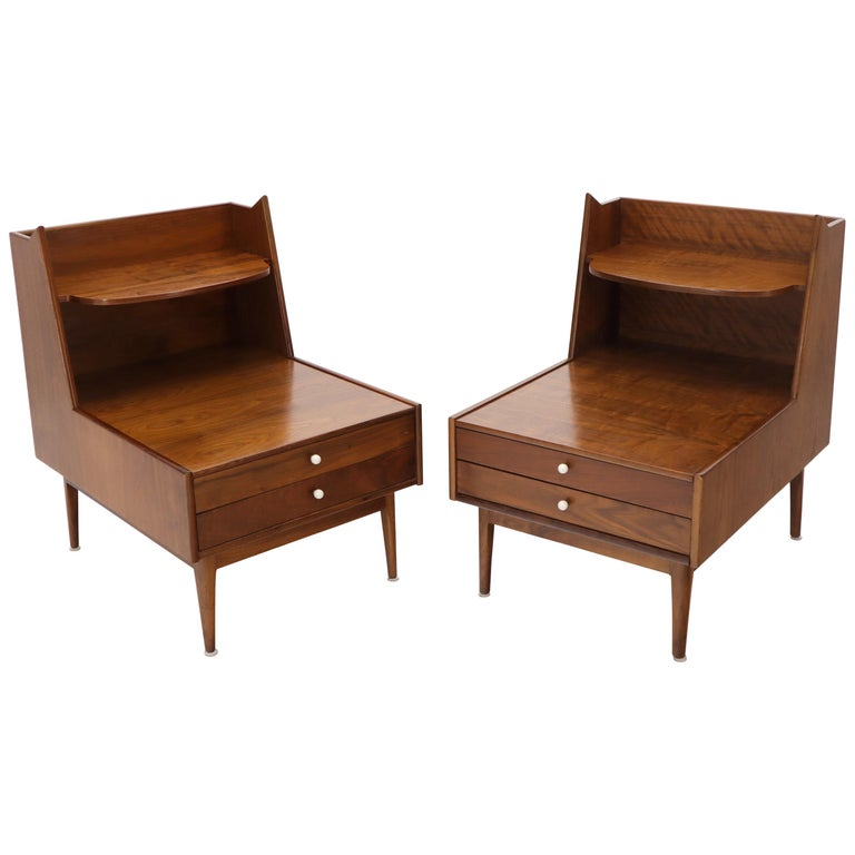 Pair of Large Oversize Two-Drawer Walnut Step End Side Tables by Drexel For Sale