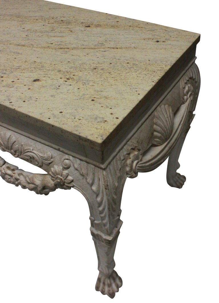 English Pair of Large Painted Mahogany and Marble-Top Console Tables