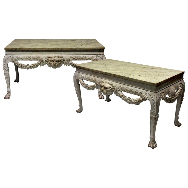 Pair of Large Painted Mahogany and Marble-Top Console Tables