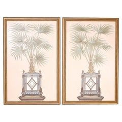 Pair of Large Palm Trompe L'oeil Style Oil Paintings on Canvas