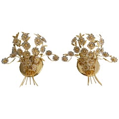 Pair of Large Palwa Crystal and Gold Floral Flower Wall Sconces