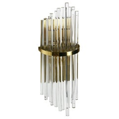 Pair of Large Palwa Sconces with Thick Swarovski Crystal Rods, 1980, Germany