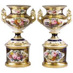 Pair of Large Paris Porcelain Two-Handled Vases on Plinths, circa 1860