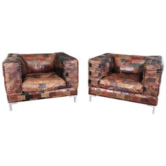 Pair of Large Patchwork Leather Cubist Modern Mid-Century Modern Club Chairs