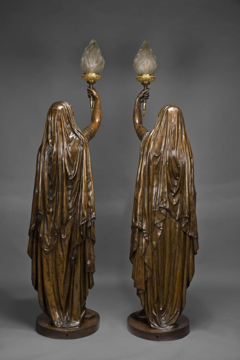 French Pair of Large Patinated Bronze Figural Torcheres Cast by Barbedienne, Dated 1872 For Sale