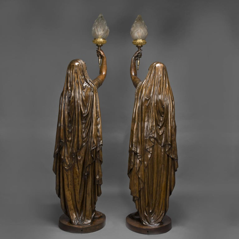 Pair of Large Patinated Bronze Figural Torcheres Cast by Barbedienne, Dated 1872 In Good Condition For Sale In London, GB
