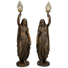 Pair of Large Patinated Bronze Figural Torcheres Cast by Barbedienne, Dated 1872