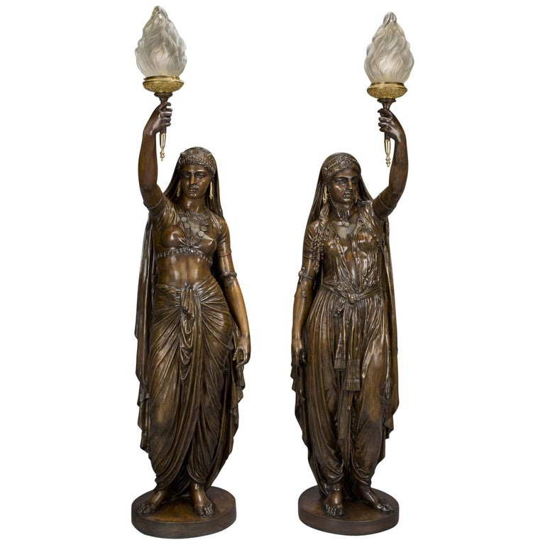 Pair of Large Patinated Bronze Figural Torcheres Cast by Barbedienne, Dated 1872 For Sale
