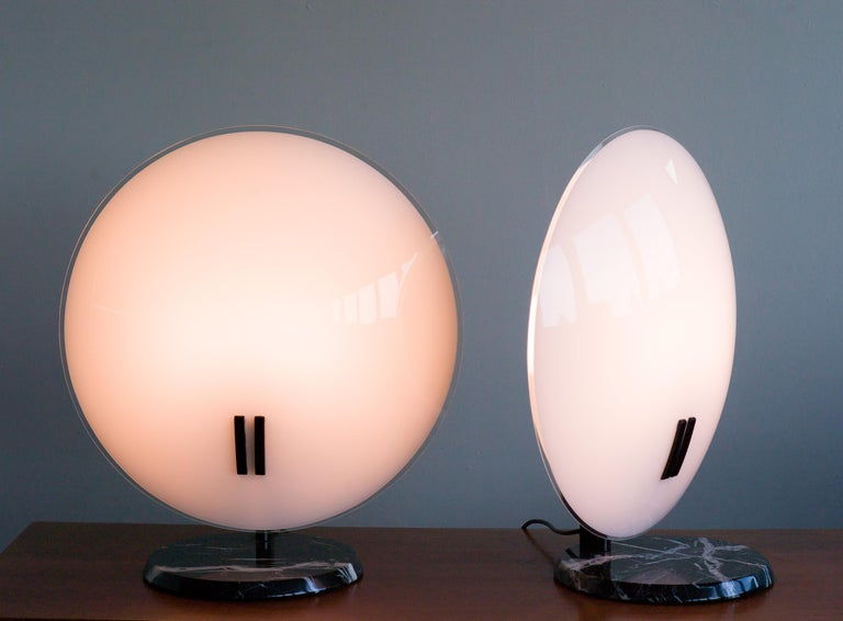 Glass Pair of Large Perla Table Lamps by Bruno Gecchelin For Sale