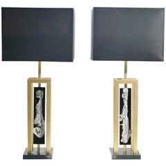 Pair of Large Philippe Cheverny Brass and Nickel Table Lamps, 1970s