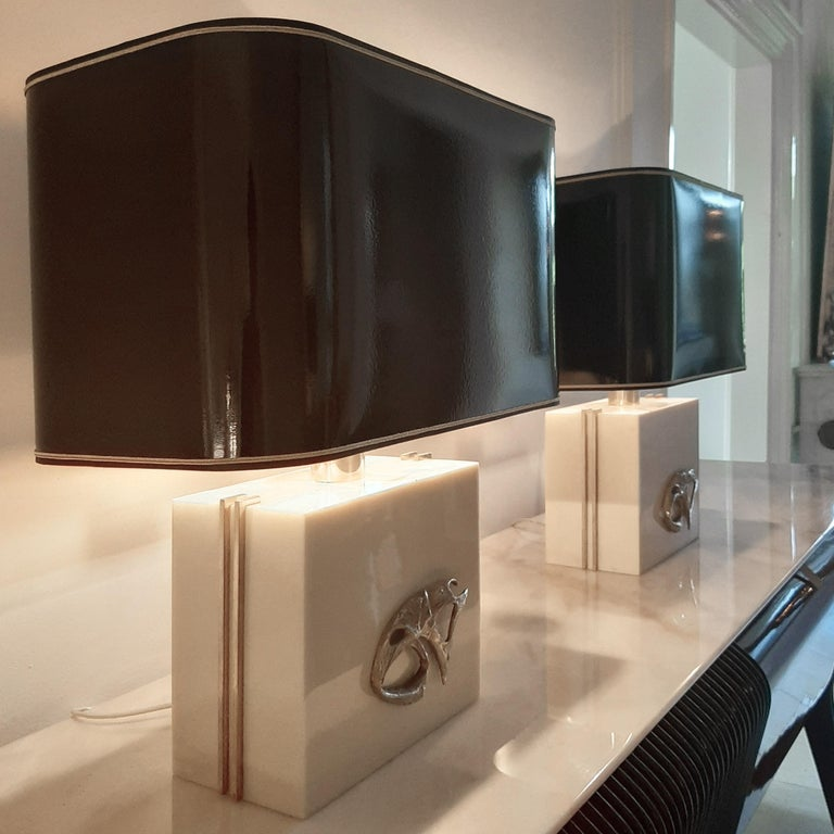 French Pair of Large Philippe Cheverny Ivory Colored Lamps with Black Shades, 1970s For Sale