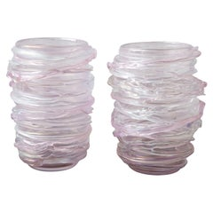 Pair of Large Pink Murano Glass Vases, in Stock