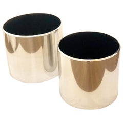 Pair of Large Polished Aluminum Planters by Paul Mayen for Habitat
