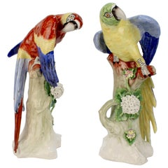 Pair of Large Polychrome Vintage Sitzendorf Porcelain Macaw Parrot Figurines