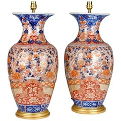 Pair of Large Porcelain 19th Century Japanese Imari Baluster Antique Table Lamps