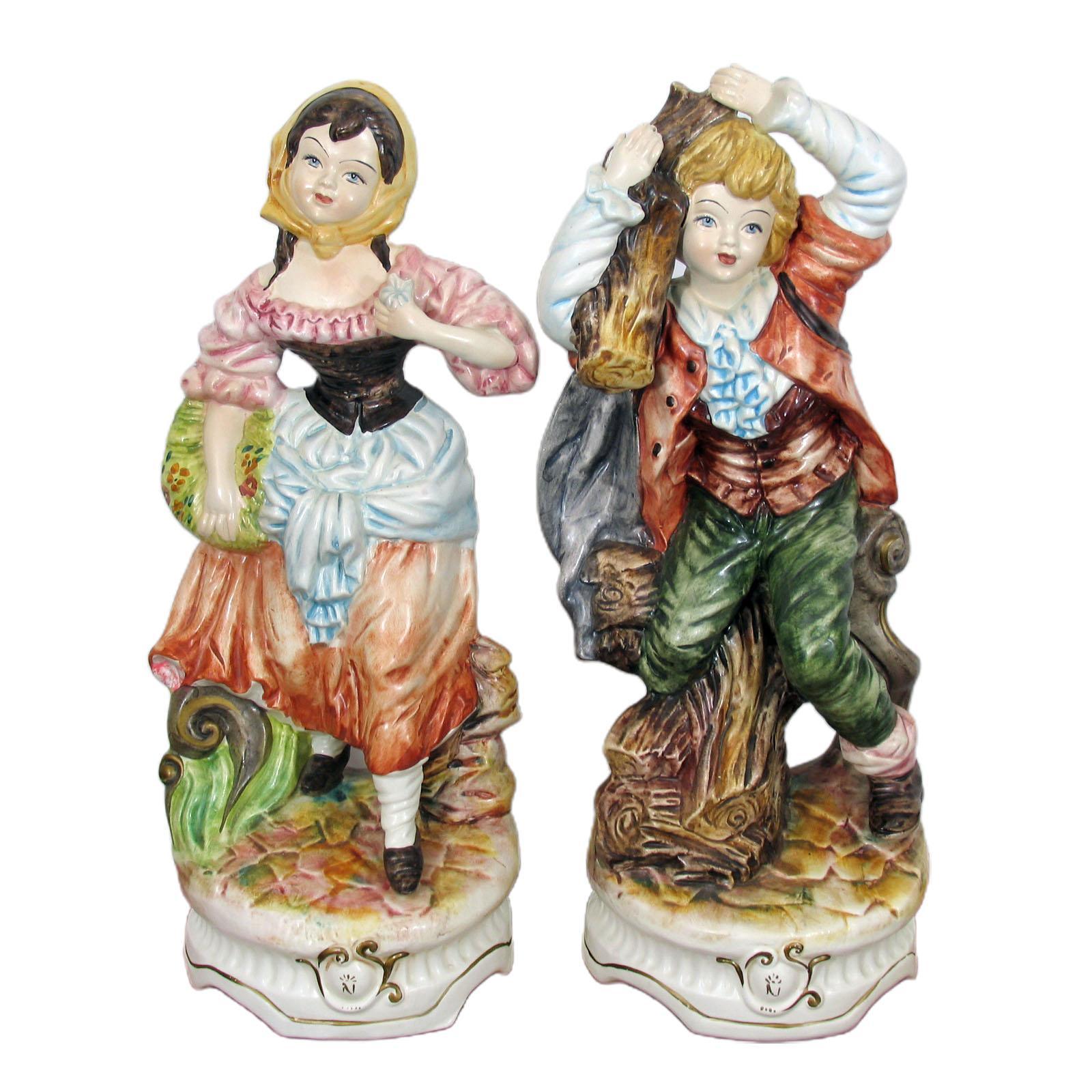 Pair of Large Porcelain Capodimonte Figurines