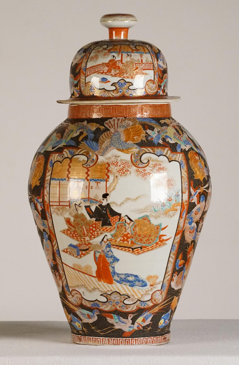 Pair of Large Porcelain Vases Kutani Period In Good Condition For Sale In Sheffield, MA