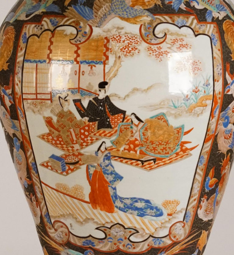 Mid-19th Century Pair of Large Porcelain Vases Kutani Period For Sale