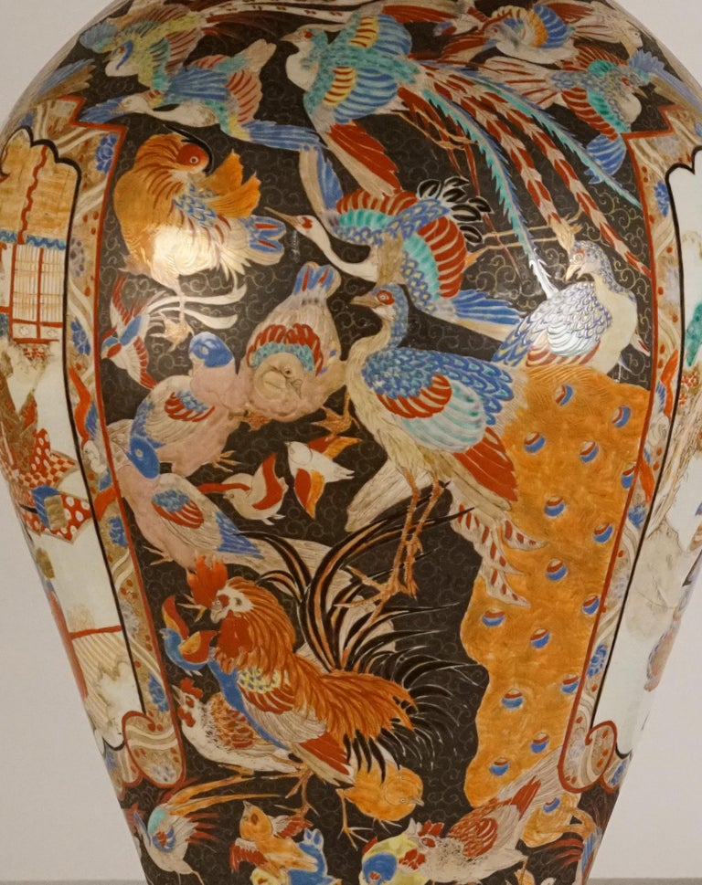 Pair of Large Porcelain Vases Kutani Period For Sale 2