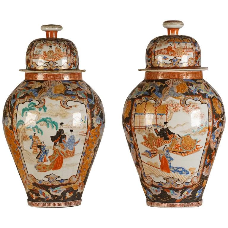 Pair of Large Porcelain Vases Kutani Period For Sale