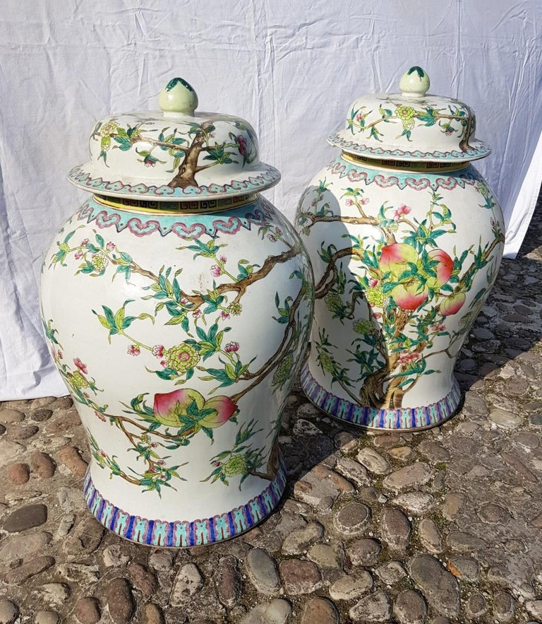 Pair of chinese potiches in glazed painted porcelain, China 20th century vases For Sale 8