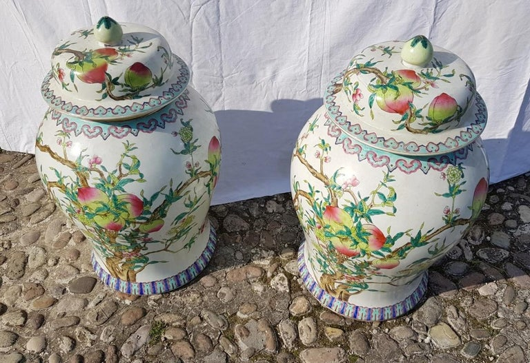 Chinese Pair of chinese potiches in glazed painted porcelain, China 20th century vases For Sale