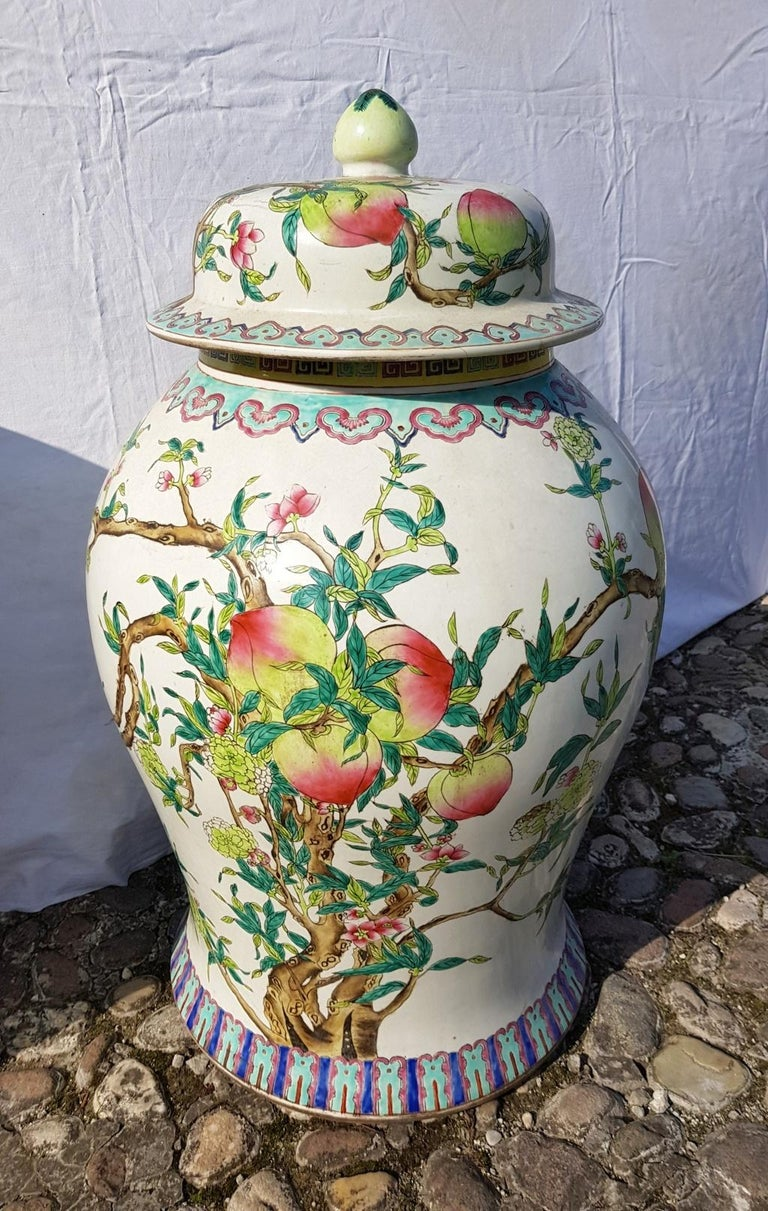 Glazed Pair of chinese potiches in glazed painted porcelain, China 20th century vases For Sale