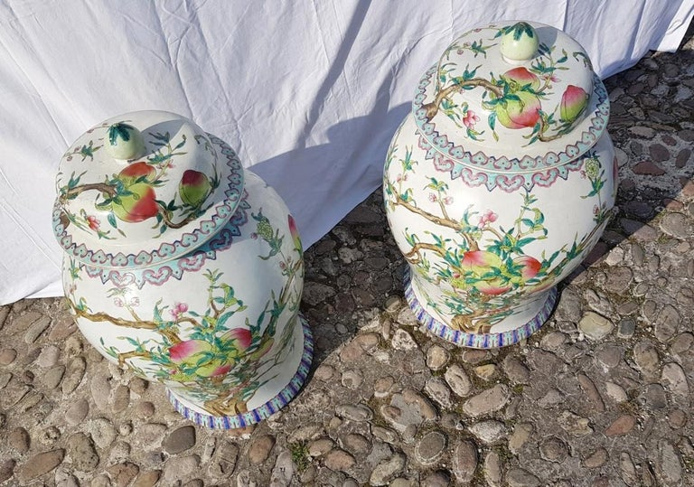 Porcelain Pair of chinese potiches in glazed painted porcelain, China 20th century vases For Sale