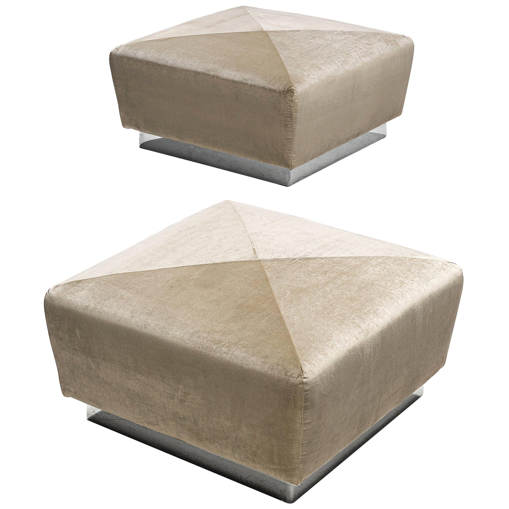 Pair of Large Poufs by Saporiti in Velvet Upholstery