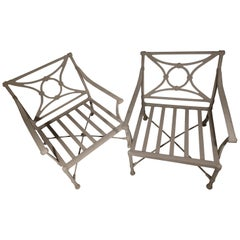 Pair of Large Powder Coated Armchairs by Outdoor Classics