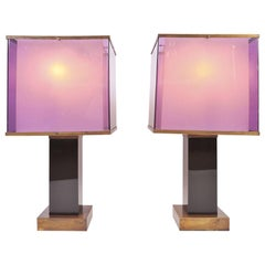 Pair of Large Purple 1970s Table Lamps by Romeo Rega
