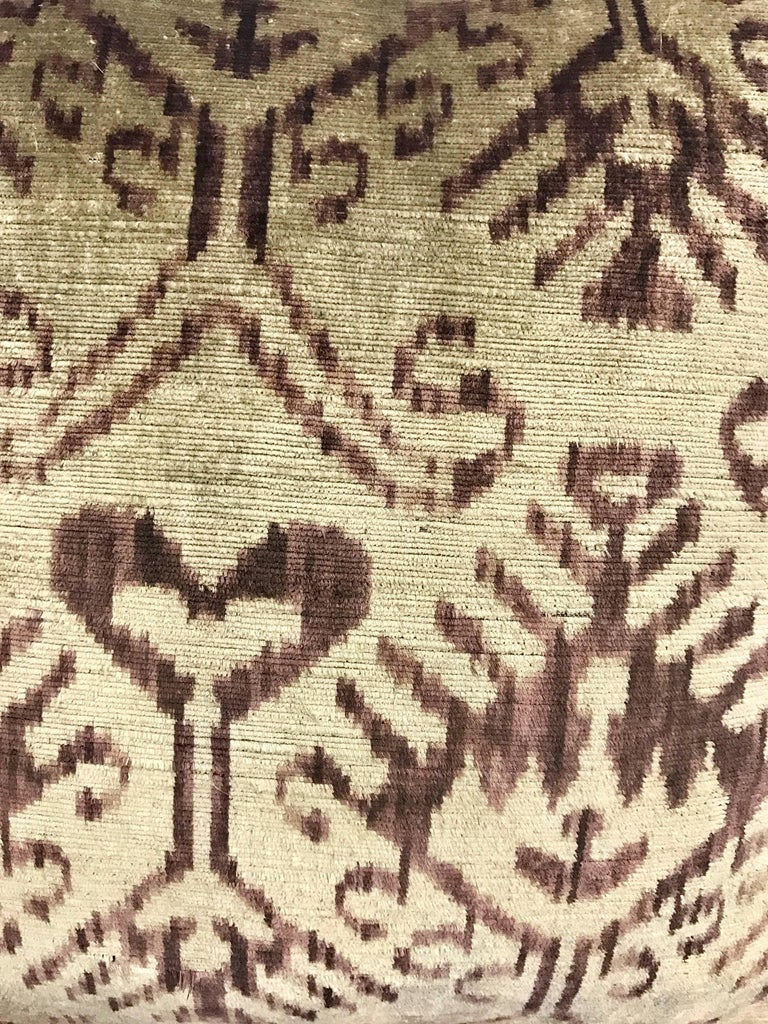 Turkish Pair of Large Purple and Gray Silk Ikat Pillows For Sale
