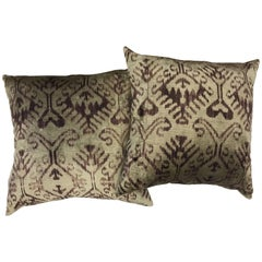 Pair of Large Purple and Gray Silk Ikat Pillows