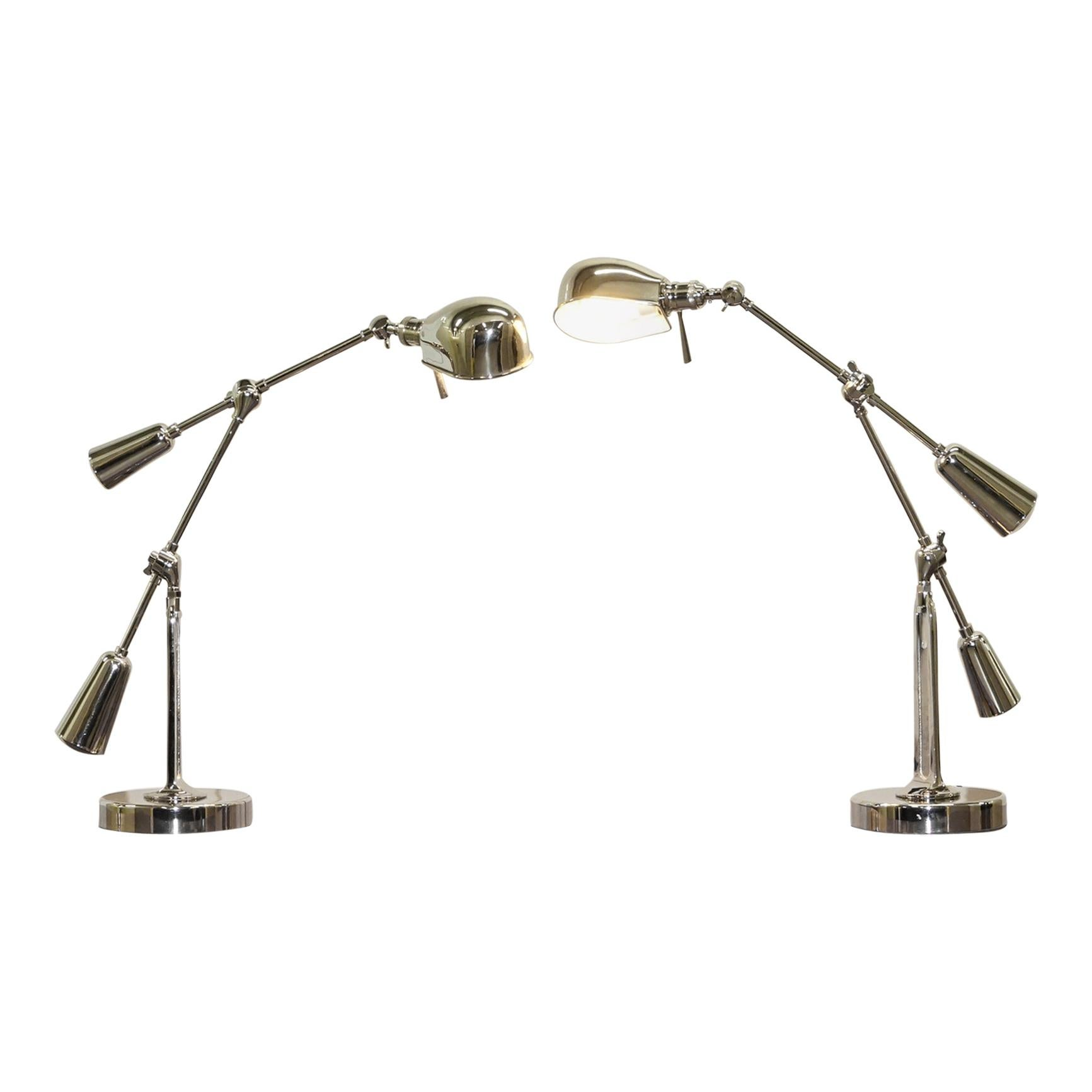 Pair of Large Ralph Lauren Boom Arm 1967 Articulated Table Lamps Tilt Functions