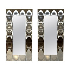 Pair of Large Rectangular Chrome Mirrors