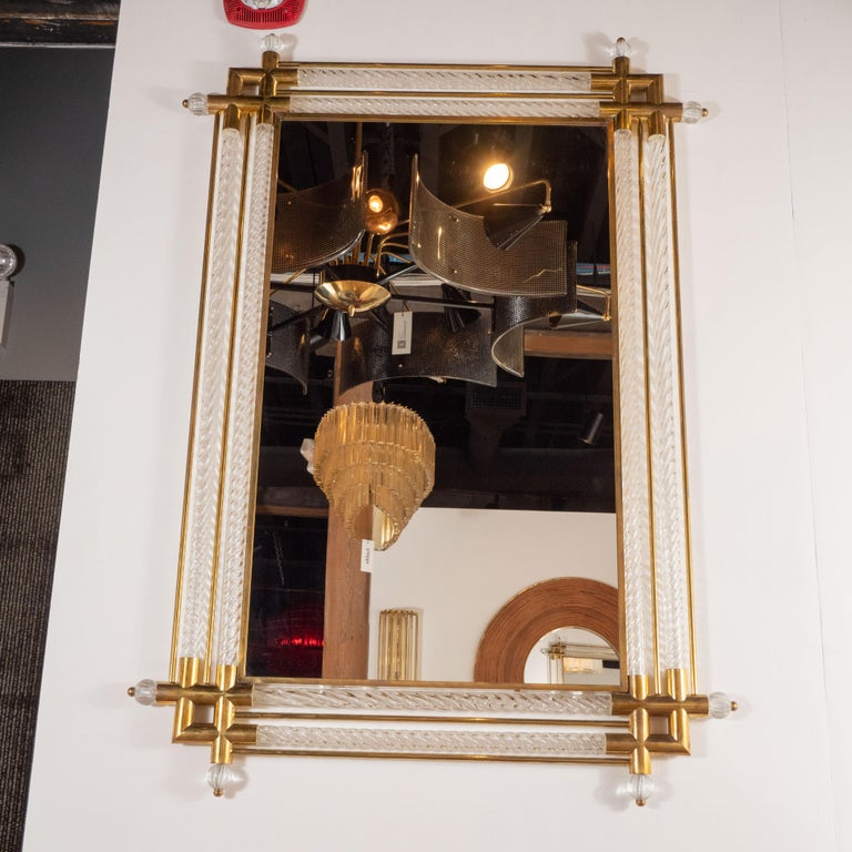 Italian Pair of Large Rectangular Clear Murano Glass and Brass Mirrors, Italy, 2019