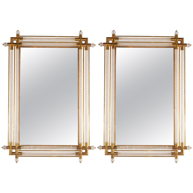 Pair of Large Rectangular Clear Murano Glass and Brass Mirrors, Italy, 2019