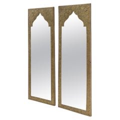 Pair of Large Rectangular Shape Pierced Minted Brass Frames Mirrors