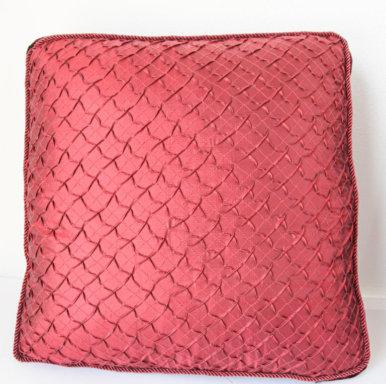 Hollywood Regency Pair of Large Red Decorative Silk Pillows For Sale