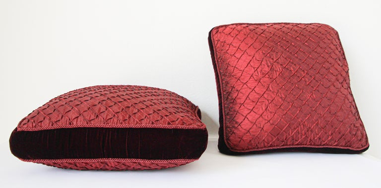American Pair of Large Red Decorative Silk Pillows For Sale