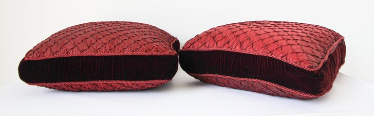 Hand-Crafted Pair of Large Red Decorative Silk Pillows For Sale