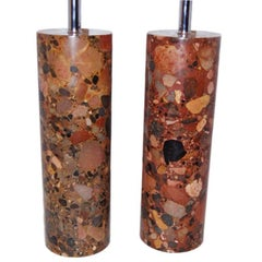 Pair of Large Red Marble Lamps