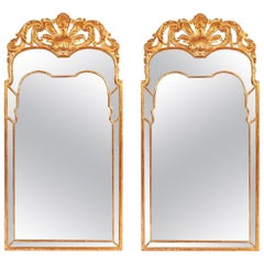 Pair of Large Regency Style Giltwood Mirrors with Foliate Crest & Shaped Plate