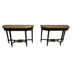 Pair of Large Regency Style Painted Console Tables