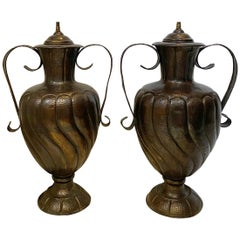 Pair of Large Repousse Metal Lamps