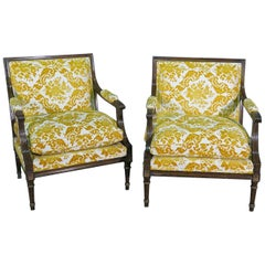 Pair of Large Rosewood French Louis XV Armchairs