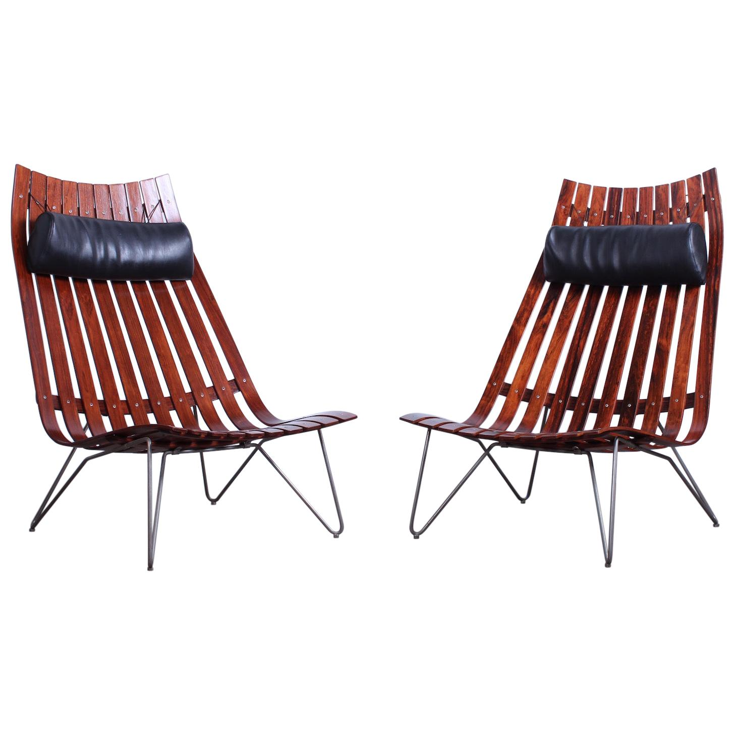 Pair of Large Rosewood Lounge Chairs by Hans Brattrud