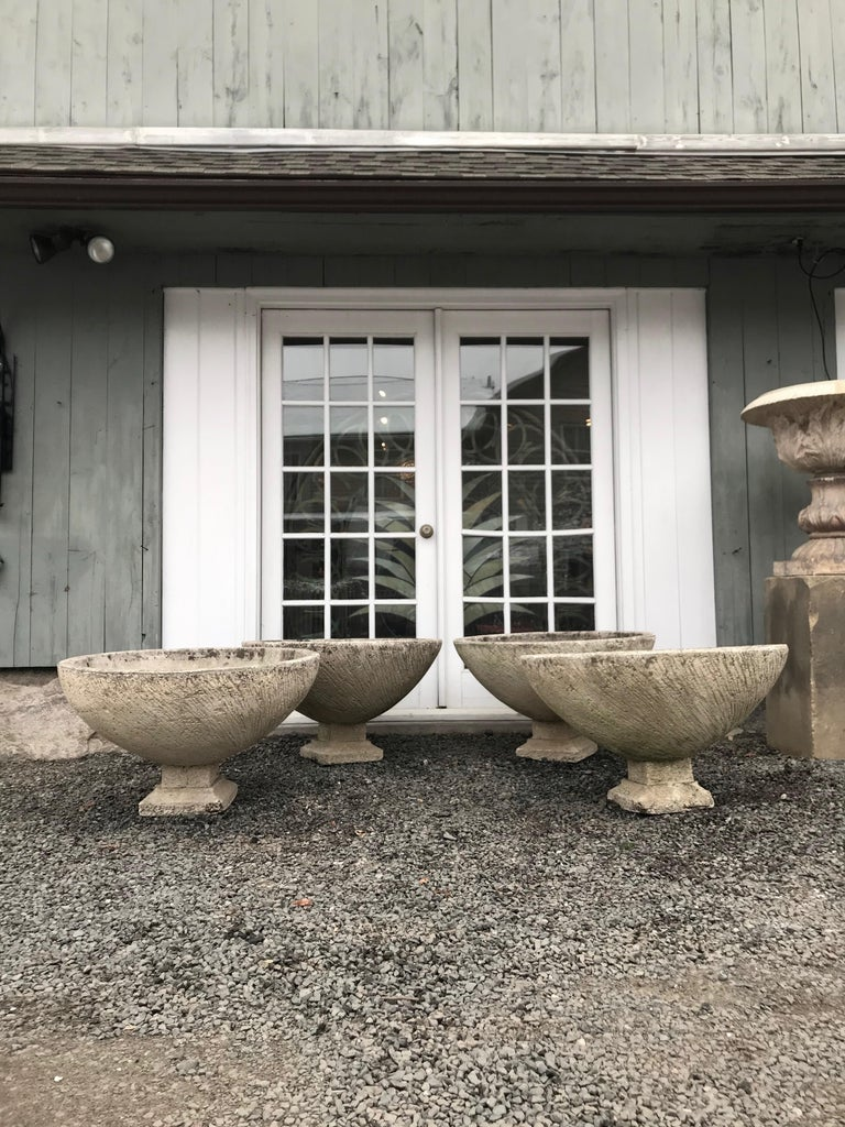 Pair of Large Round French Cast Stone Bowl Planters on Integral Feet #1 For Sale 6
