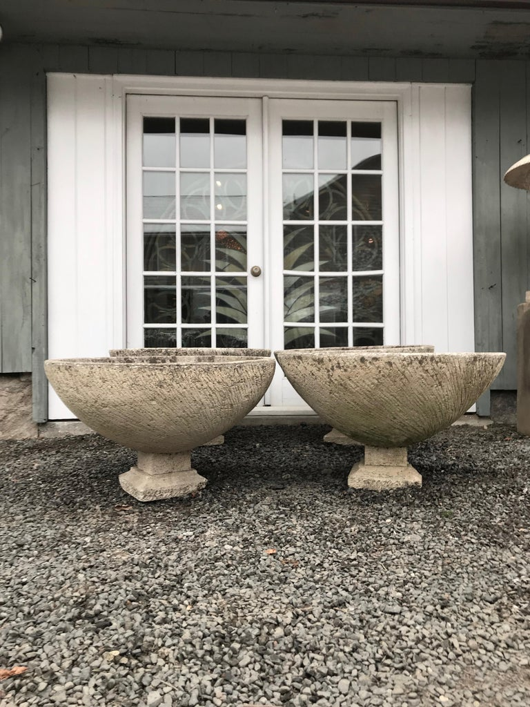 Pair of Large Round French Cast Stone Bowl Planters on Integral Feet #1 For Sale 7