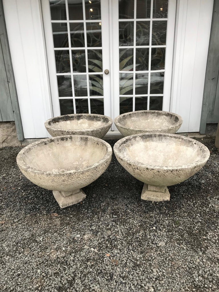 Pair of Large Round French Cast Stone Bowl Planters on Integral Feet #1 For Sale 8